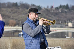 Musicians perform live on Charles Bridge in Prague Stock Images