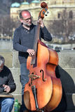 Musicians perform live on Charles Bridge in Prague Royalty Free Stock Images