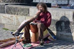 Musicians perform live on Charles Bridge in Prague Stock Photos