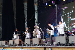 Musicians perform at open air festival White Nights Royalty Free Stock Images