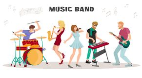 Musicians Performing on Stage vector illustration