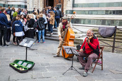 Musicians at Piazza del  Duomo in Florence, Italy Royalty Free Stock Images