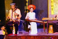 Musicians play ancient Chinese  instruments Royalty Free Stock Photography