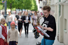 Musicians play Saxophone in Street music day Royalty Free Stock Photo