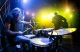 Musicians play on stage Stock Photos