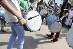 Musicians playing drums  in an election rally Stock Image