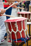 Musicians  playing on a drums Royalty Free Stock Image