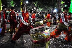 Musicians playing on drums during the Tet Lunar New Year in Saig Stock Photography