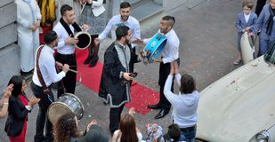 Musicians playing etnic music at a traditional wedding of the Moroccan community in Brussels Royalty Free Stock Image