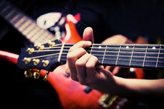 Musicians playing Guitar and Bass stock image
