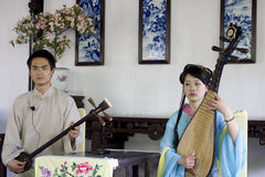 Musicians playing pipa in China Royalty Free Stock Photography