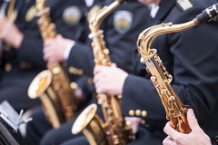 Musicians playing on Saxophone Stock Photos