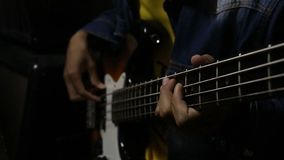The musicians are playing a solo ฺBass. stock video