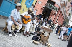 Musicians playing on the street of Havana, Cuba royalty free stock photos