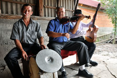 Musicians playing on traditional instruments Royalty Free Stock Photography