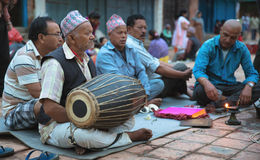 Musicians playing traditional music Nepal royalty free stock photo