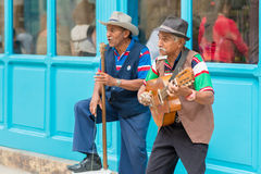 Musicians playing traditional music in Old Havana Stock Photos