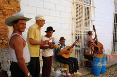 Musicians playing in Trinidad, cuba. Royalty Free Stock Images