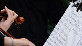 Musicians playing violin or viola with partitures or music sheet in a concert stock video footage