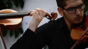 Musicians playing violin or viola in a string quartet stock footage