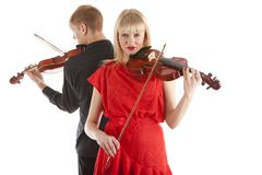 Musicians playing violins Stock Photos