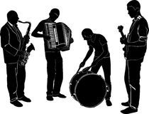 Musicians. Quartet of musicians drummer drummer and guitarist, saxophonist accordionist royalty free illustration