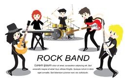 Musicians rock group ,Play guitar,Singer, guitarist, drummer, solo guitarist, bassist, keyboardist. Rock band.Vector illustration. On background in cartoon Stock Photo