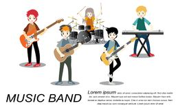 Musicians rock group ,Play guitar,Singer, guitarist, drummer, solo guitarist, bassist, keyboardist. Rock band.Vector illustration. Isolated on background in Royalty Free Stock Images