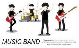 Musicians rock group ,Play guitar,Singer, guitarist, drummer, solo guitarist, bassist, keyboardist. Rock band.Vector illustration. On background in cartoon Royalty Free Stock Images
