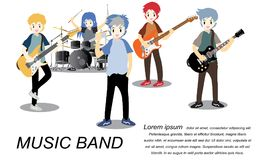 Musicians rock group ,Play guitar,Singer, guitarist, drummer, solo guitarist, bassist, keyboardist. Rock band.Vector illustration. Isolated on background in Stock Images