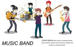 Musicians rock group ,Play guitar,Singer, guitarist, drummer, solo guitarist, bassist, keyboardist. Rock band.Vector illustration. On background in cartoon Stock Image