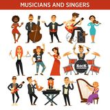 Musicians rock, jazz and orchestra band singers, musical instruments vector flat icons. Musicians and singers of rock, jazz or orchestra band performers with Stock Photo