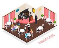 Musicians Romantic Cafe Isometric Composition. Musicians of romantic cafe pianist performer on contrabass and customers at tables isometric composition vector vector illustration