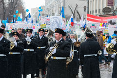 Musicians on russian demonstrators rally Royalty Free Stock Photography