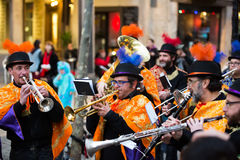 Musicians at Spanish Carnaval at Barcelona Stock Images