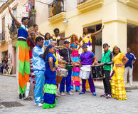 Musicians and street dancers in Old Havana Stock Photos