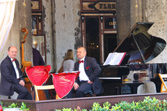Musicians on the terrace of Cafe Florian, Venice, Italy Royalty Free Stock Photography