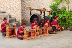 Musicians in the traditional Balinese performance Royalty Free Stock Photography