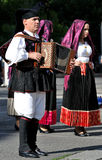Musicians with the traditional costume of Sardinia. Stock Photo