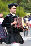 Musicians with the traditional costume of Sardinia. Royalty Free Stock Photo