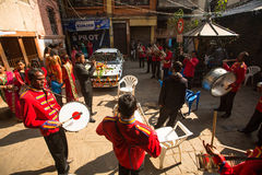 Musicians in traditional Nepalese wedding. Largest city of Nepal, its cultural center, Royalty Free Stock Image