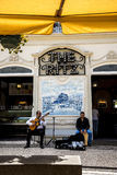 Musicians in the Tree Lined Main Shopping Streets in Funchal Madeira Portugal. Close by the market are the main shopping streets, pedestrian areas and the royalty free stock photo
