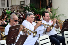 Musicians with a trumpets in an orchestra. Musicians with a trumpets in an street orchestra Stock Photos