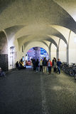 Musicians in the tunnels under the old Munich City Hall Stock Images