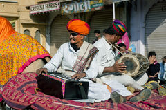 Musicians in turbans in India Royalty Free Stock Photos