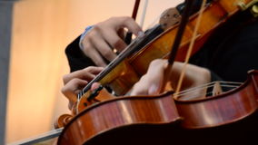 Musicians violinists playing violin or viola on a concert. Musician playing viola in a string quartet on a concert stock footage