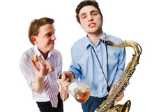 Musicians on white Royalty Free Stock Images