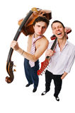 Musicians on white Stock Image