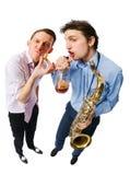 Musicians on white Stock Photos
