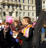 Musicians at the Women`s March, NYC, NY, USA Royalty Free Stock Photos